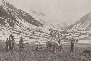 Hager, P.K.: Cultivation of a field in spring after removing the snow (Ausapern) in the Alps, 1916