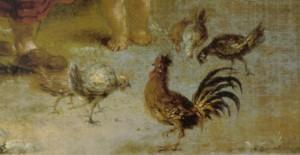 """Ausschnitt aus Ölgemälde """"Bäuerliches Idyll"""" von Januarius Zick (ca. 1775), süddeutscher Maler"""