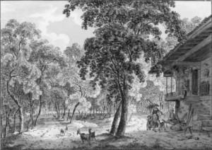 """Ziegenweide im lichten Wald 1808 (Album """"Souvenir des Einvirons d'Unterseen et d?Interlaken)"""